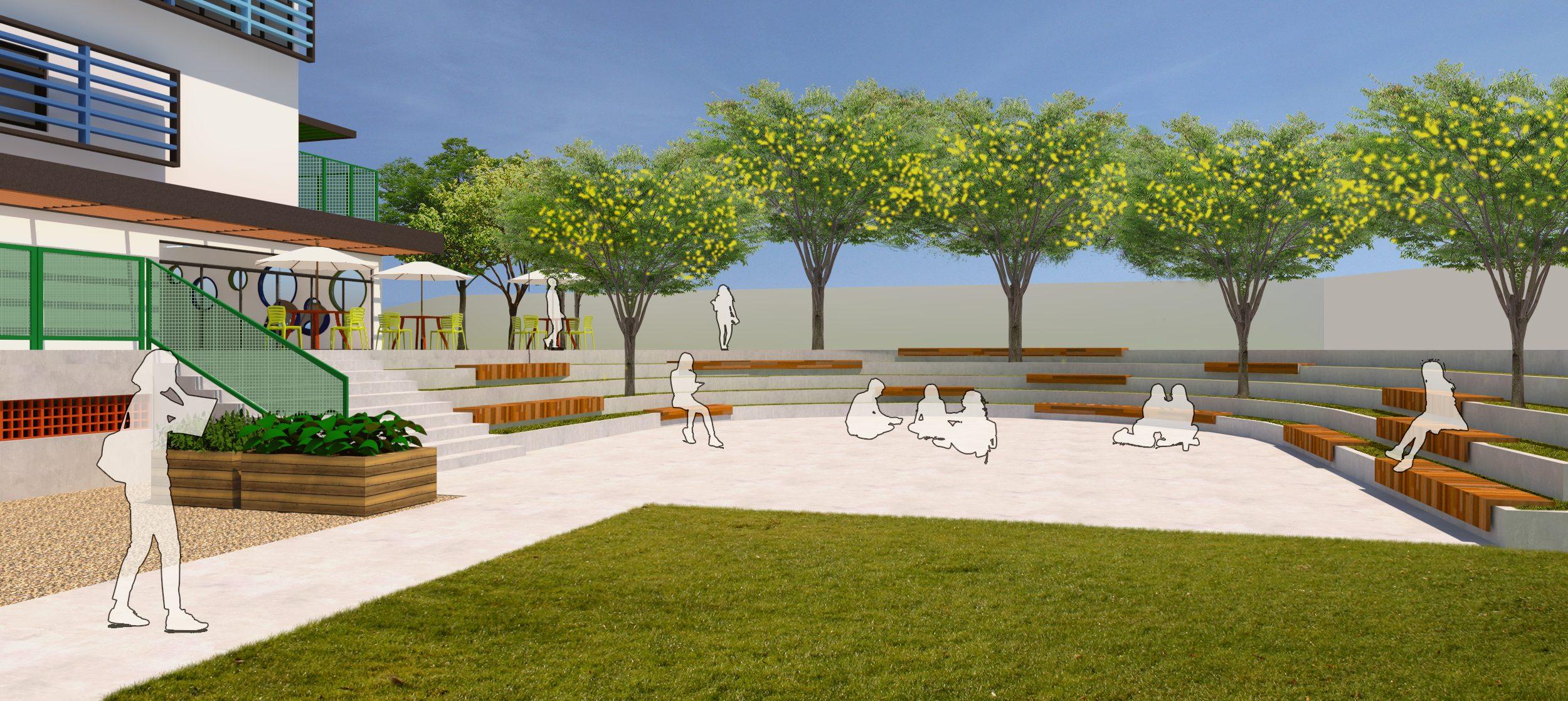 pátio escolar com paisagismo e arquibancada
